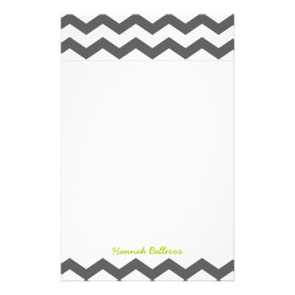 Chevron Charcoal Gray Zigzag Stripes Personalized Personalized Stationery