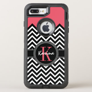 Chevron Chic Coral Peach Monogram OtterBox Defender iPhone 7 Plus Case