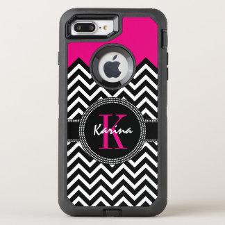 Chevron Chic Hot Pink Monogram OtterBox Defender iPhone 7 Plus Case