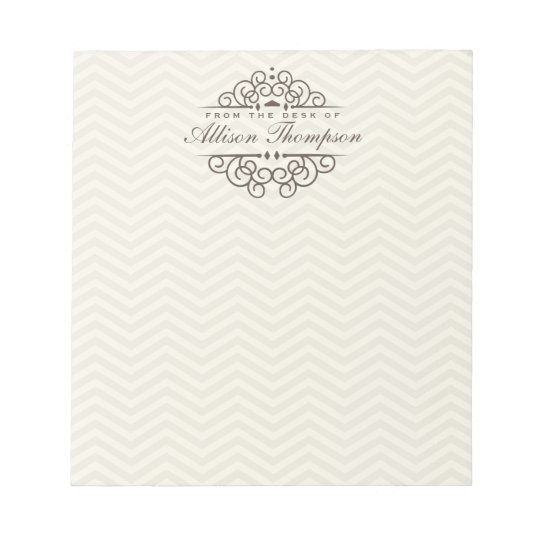 Chevron Chic Personalised Desk Notepad | Beige