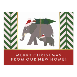 Chevron Christmas Elephant Pair New Address Postcard
