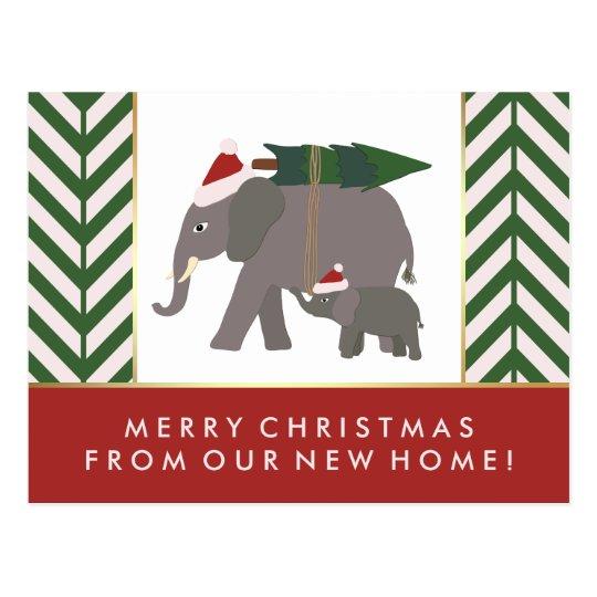 Chevron Christmas Elephant Pair New Address Postcard