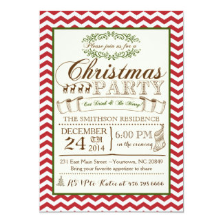 Chevron Christmas Party Invitation