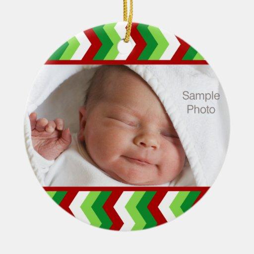 Chevron Christmas Photo Ornament