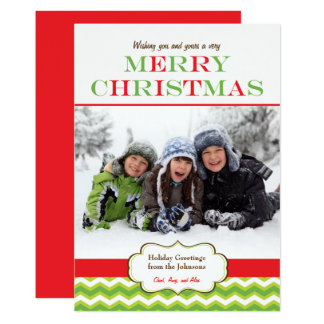 Chevron Christmas Red Green Stripes Holiday Photo Card