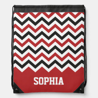 Chevron Classic Red and Black Custom Name Drawstring Bag