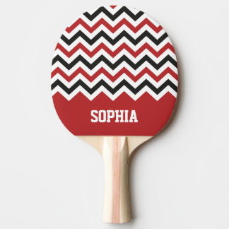 Chevron Classic Red and Black Custom Name Ping Pong Paddle