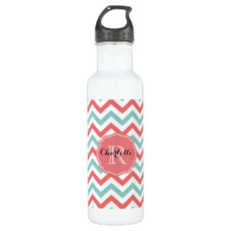 Chevron Coral and Aqua Custom Name 710 Ml Water Bottle