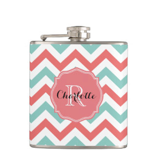 Chevron Coral and Aqua Custom Name Hip Flask