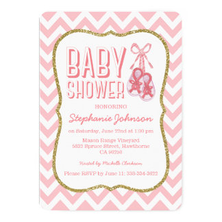 Chevron Cute Pink Booties Baby Shower | Girl 13 Cm X 18 Cm Invitation Card