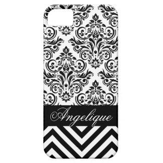 Chevron Damask Designer black   white iPhone 5 Cases