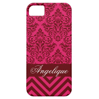 Chevron Damask Designer hot pink | red iPhone 5 Covers