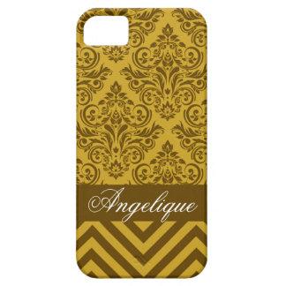 Chevron Damask Designer mustard | brown iPhone 5 Cases