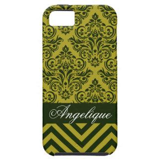 Chevron Damask Designer olive celery iPhone 5 Cases