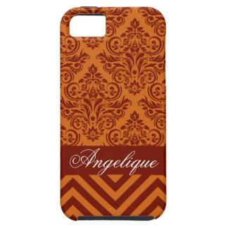 Chevron Damask Designer orange   russet iPhone 5 Cases