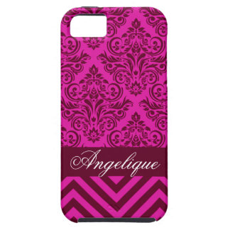 Chevron Damask Designer orchid | burgundy iPhone 5 Cases