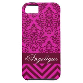 Chevron Damask Designer orchid   burgundy iPhone 5 Cover