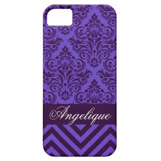 Chevron Damask Designer periwinkle   violet iPhone 5 Covers
