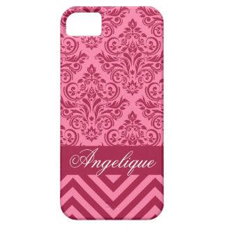 Chevron Damask Designer pink   magenta iPhone 5 Case