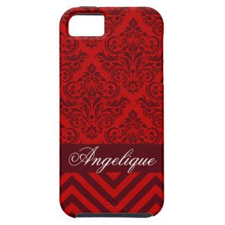 Chevron Damask Designer red   burgundy Tough iPhone 5 Case