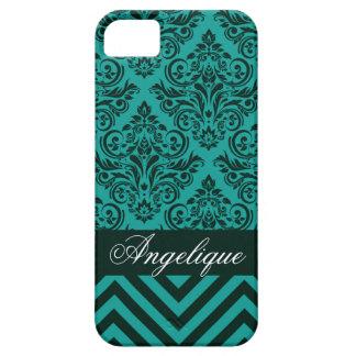 Chevron Damask Designer teal   evergreen iPhone 5 Cover