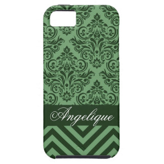 Chevron Damask Designer willow | evergreen iPhone 5 Cover