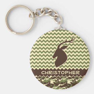 Chevron Deer Buck Camouflage Personalize Basic Round Button Key Ring