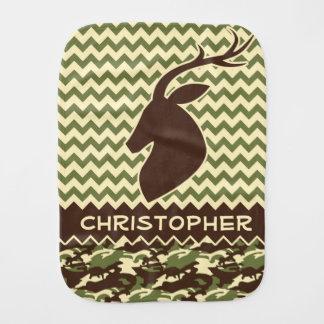 Chevron Deer Buck Camouflage Personalize Burp Cloth