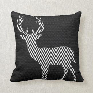 Chevron Deer Silhouette on Burlap   black white Cushion