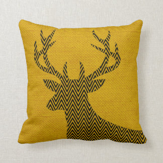 Chevron Deer Silhouette on Burlap | mustard Throw Pillow
