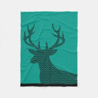 Chevron Deer Stag Silhouette | teal black Fleece Blanket