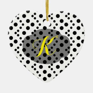 Chevron Dots Ceramic Heart Decoration