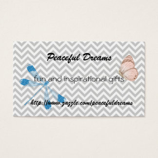 Chevron Dragonfly and Butterfly Business Card