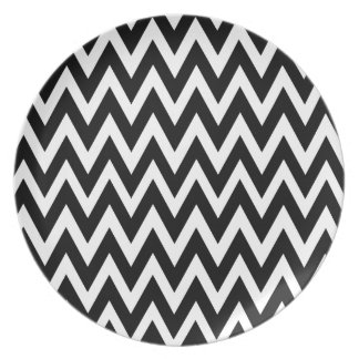 Chevron Dreams black and white Party Plate