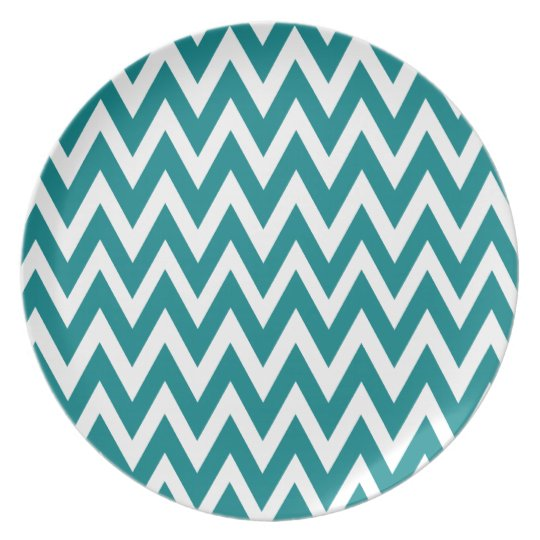 Chevron Dreams teal and white Party Plate