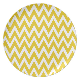Chevron Dreams yellow and white Party Plate