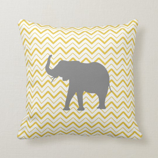 Chevron elephant yellow zigzag design baby nursery cushion