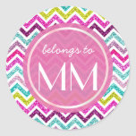 Chevron Faux Glitter Bling Coloful Girly DIY Tags Round Sticker