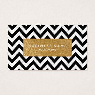 Chevron Faux Gold Foil Business Cards