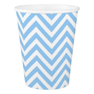 Chevron geometric modern elegant blue and white paper cup