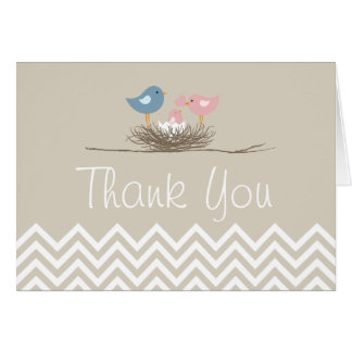 Chevron Girls Bird's Nest Thank You Card