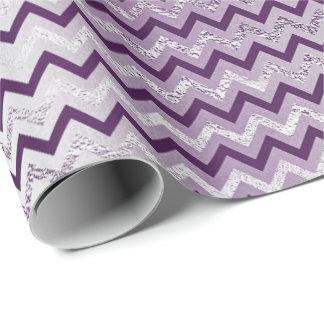 Chevron Glam Lux Metallic Purple Amethyst Plum Wrapping Paper