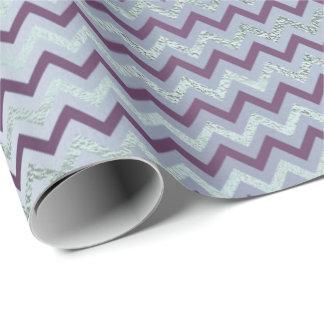 Chevron Glam Lux Purple Amethyst Plum Blue Gray Wrapping Paper