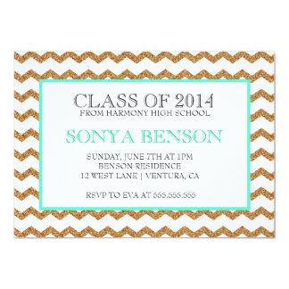 Chevron Glitter Class of 2014 Graduation Invite