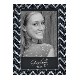 Chevron Glitter Graduation Photo Invitation