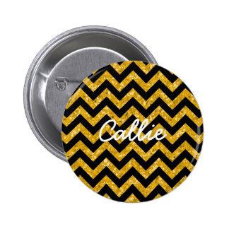 Chevron Glitter Look Button