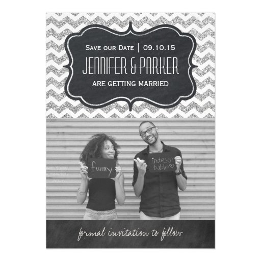 Chevron Glitter Save the Date Photo Cards