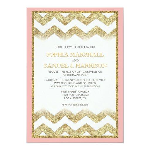 chevron gold glitter wedding invitation zazzle With gold glitter wedding invitations uk