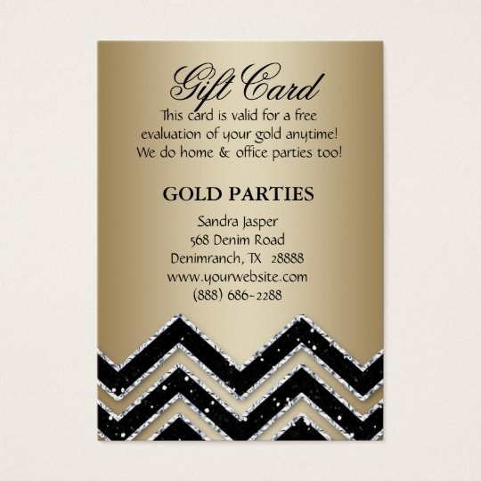 Chevron Gold Party Gift Card Black Glitter