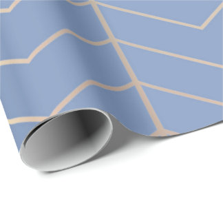 Chevron Gray Blue Silver Minimalism Geometry Rose Wrapping Paper